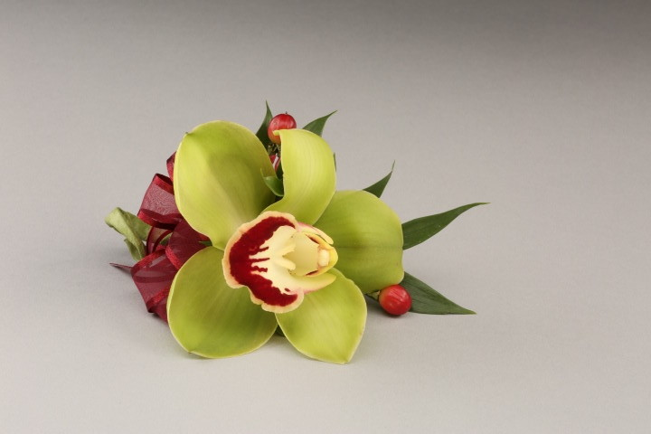 PICTURE OF EXOTIC GREEN ORCHID CORSAGE