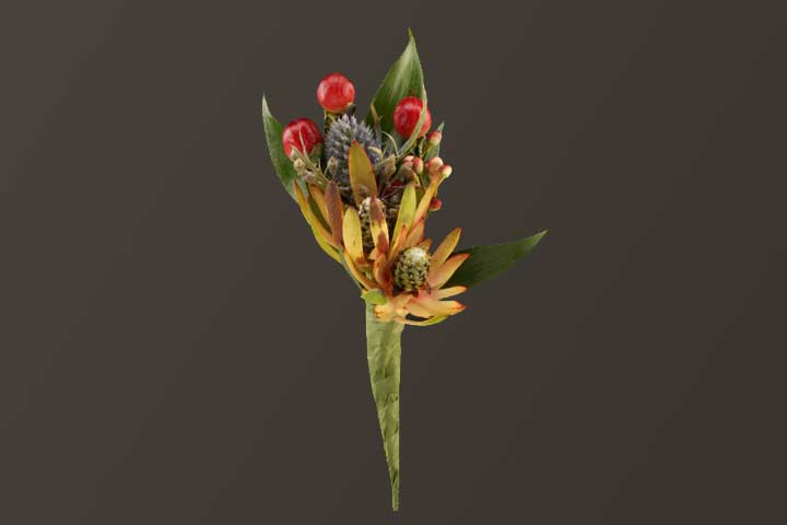 PICTURE OF MIXED TROPICAL BOUTONNIERE