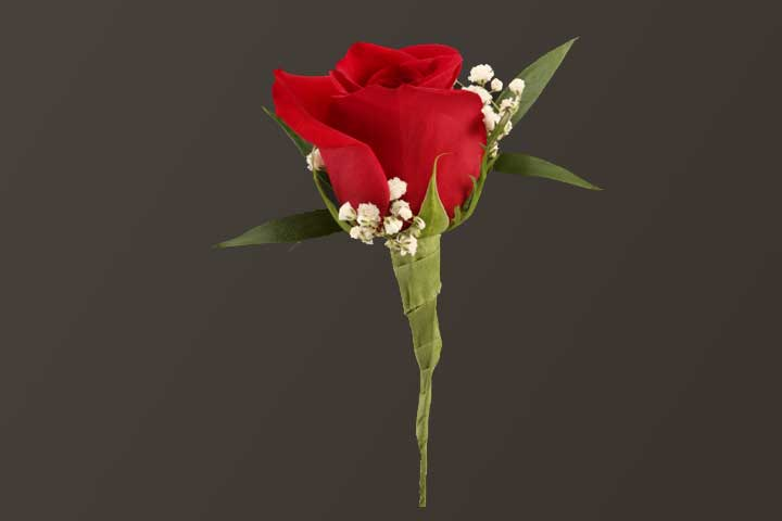 PICTURE OF RED ROSE & BABY'S BREATH BOUTONNIERE