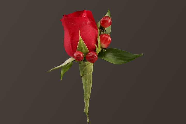PICTURE OF RED ROSE & BERRIES BOUTONNIERE