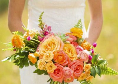 """A """"Custom Bouquet"""" for the Bride in shades of peach and orange"""
