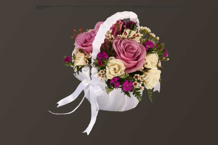 PICTURE OF WHITE SATIN BASKET