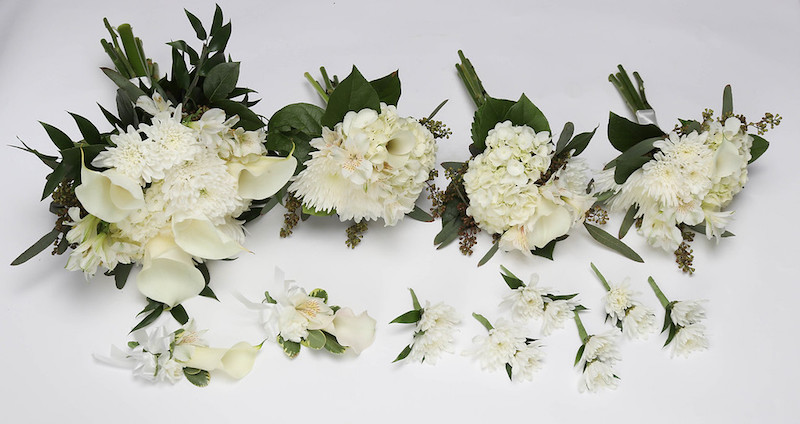 WHITE ON WHITE MIXED FLOWERS PICTURE